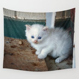 White Kitten Wall Tapestry