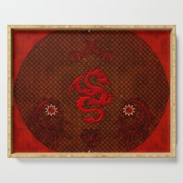Wonderful red chinese dragon on vintage background Serving Tray