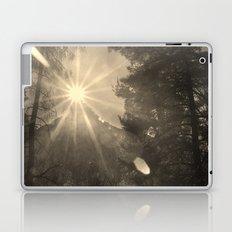 The sun through the mountain. Retro Laptop & iPad Skin