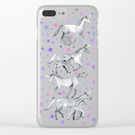 Unicorns and Stars on Dark Teal Clear iPhone Case