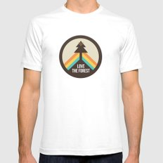 For the Love of the Forest White SMALL Mens Fitted Tee