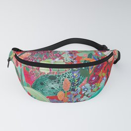 Red floral Jungle Garden Botanical featuring Proteas, Reeds, Eucalyptus, Ferns and Birds of Paradise Fanny Pack