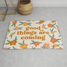 Good Things Are Coming Floral Quote Rug