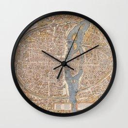 Vintage Paris Map Wall Clock
