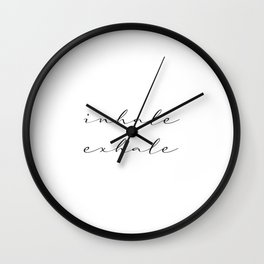Inhale Exhale Yoga meditation namaste workout Wall Clock