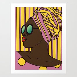 Woman in Pink And Yellow Art Print