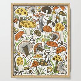Hand-drawn Mushrooms Serving Tray