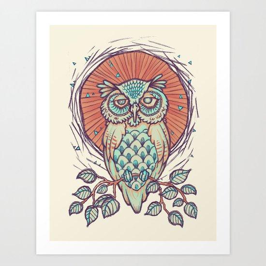Owl on branch Art Print