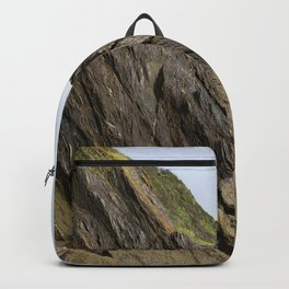 Natural Textured Cliff Face with Blue Skies Backpack
