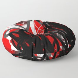 Red, Black & Gray Abstract Floor Pillow