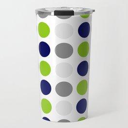 Lime Green, Bright Navy Blue, and Gray Multi Dots Minimalist Pattern on White Travel Mug