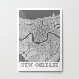 New Orleans Pencil City Map Metal Print