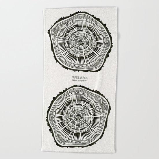 Paper Birch – Black Tree Rings Beach Towel