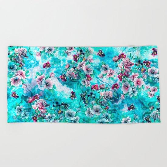 Floral Ocean II Beach Towel