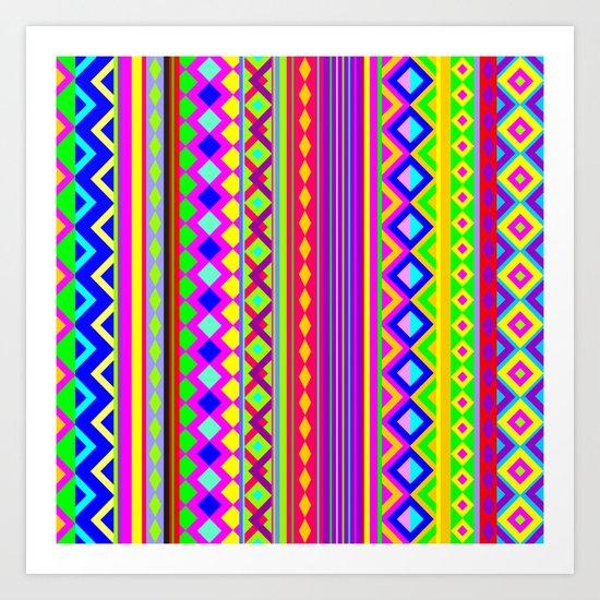 Aztec Psychedelic Chevron Pattern Art Print
