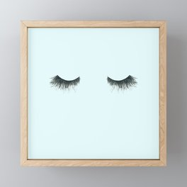 Dramatic dreaming in blue  \\ lashes, closed eyes, sleeping design for bedroom Framed Mini Art Print