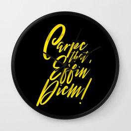 Carpe that Effin' Diem (Yellow on Black) Wall Clock