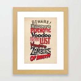 B Movie Beware Framed Art Print