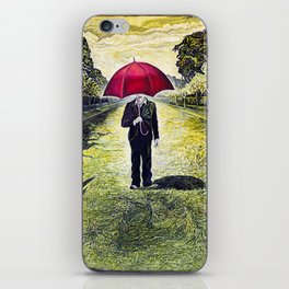 Red Umbrella man - from original oil painting iPhone Skin
