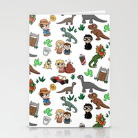jurassic park Stationery Cards featuring Jurassic Park Bits by Lacey Simpson
