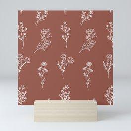 Botanical Wildflowers Line Art Mini Art Print
