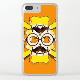 yellow old vintage skull and bone graffiti drawing with orange background Clear iPhone Case