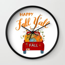Happy Fall Y'all Vintage Pumpkin Truck Hand Lettered Hand Drawn Wall Clock