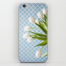 Tulip Endearment - White & Aqua iPhone & iPod Skin