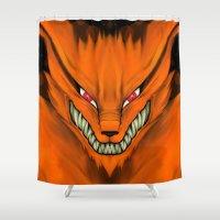 sasuke Shower Curtains featuring Kyubi Nine Tails by Inara
