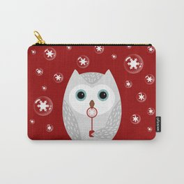 Christmas owl on red Carry-All Pouch