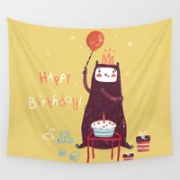 happy birthday Wall Tapestries featuring Happy birthday purple monster! by Villie Karabatzia