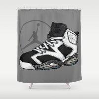 air jordan Shower Curtains featuring Jordan 6 (Oreo) by Pancho the Macho