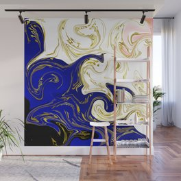 blue ,gold,rose,black,golden fractal, vibrations, circles modern pattern, Wall Mural