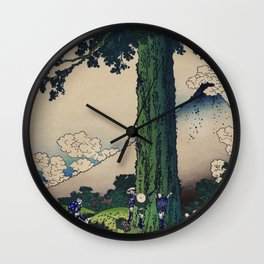 Japanese fine art, with Mount Fuji in the background. Wall Clock