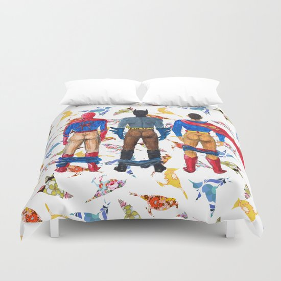 Super Hero BUTTs | It's a bird, it's a plane, it's... a booty Duvet Cover