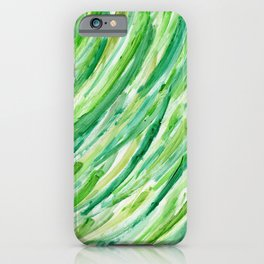 Spring Grass - Abstract Green Stripes iPhone Case