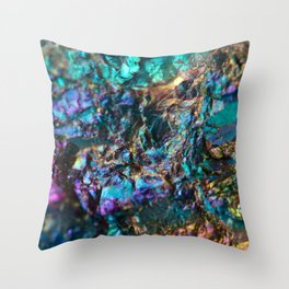 Turquoise Oil Slick Quartz Throw Pillow
