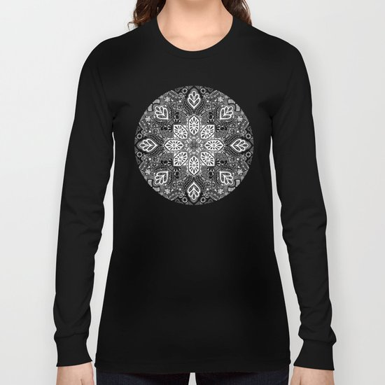 Gypsy Lace in White on Black Long Sleeve T-shirt
