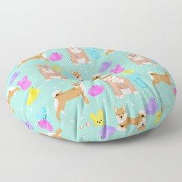 Shiba Inu dog breed peeps marshmallow easter spring dog pattern gifts Shiba Inus Floor Pillow