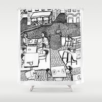 stockholm Shower Curtains featuring Stockholm by intermittentdreamscapes