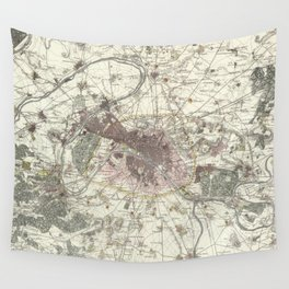 Vintage Map of Paris France (1883) Wall Tapestry