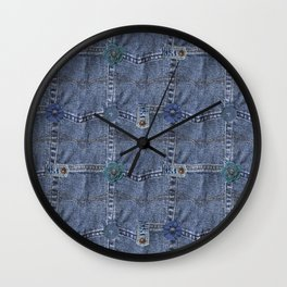 Blue Jeans Denim Pocket Patchwork Wall Clock