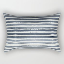 Simply Shibori Stripes Indigo Blue on Lunar Gray Rectangular Pillow