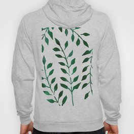 Minimalist Forest Green Leaves Watercolor Hoody