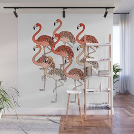 Living Coral Color Flamingos Wall Mural