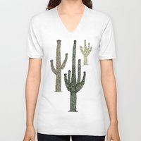 cactus V-neck T-shirts featuring Cactus by Hinterlund