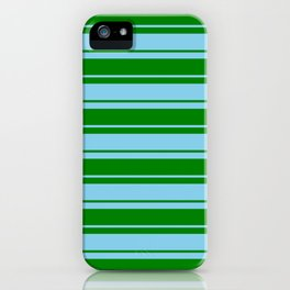 Green and Sky Blue Colored Lined/Striped Pattern iPhone Case