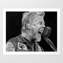 Charcoal Portrait of James . Hetfield Art Print