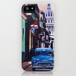 Cuban Oldtimer Street Scene in Havanna Cuba with Buena Vista Feeling iPhone Case