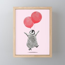 Flying Baby Penguin in Pink Framed Mini Art Print